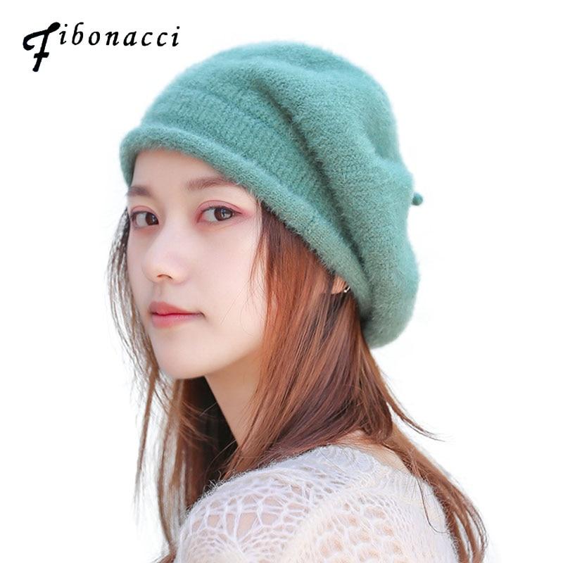 Женские береты из Фибоначчи на осень и зиму, однотонная шапка из искусственного меха норки, теплая вязаная шапка|Женские береты|   | АлиЭкспресс