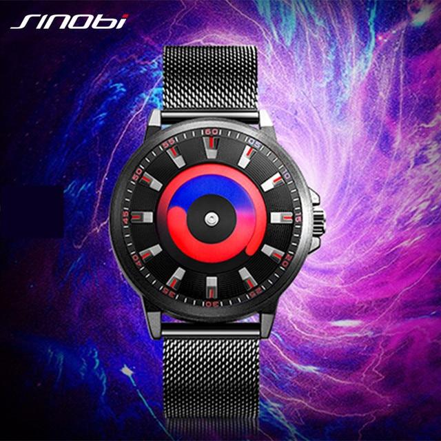 SINOBI New Creative Sports Quartz Wirstwatch Men Miyota Movement Watch Mens TOP Watches Fashion Rotation Clock Relogio Masculino
