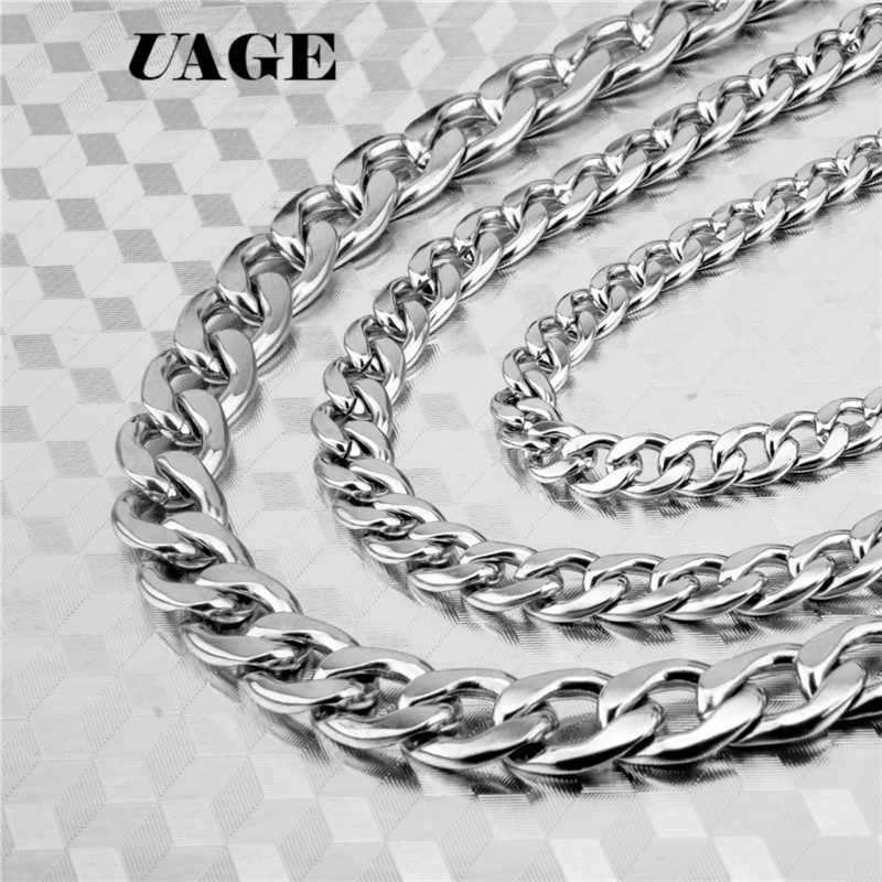 UAGE Silver Gold Filled Solid Necklace Curb Chains Link Men Choker Stainless Steel Male Female Accessories Fashion 2018