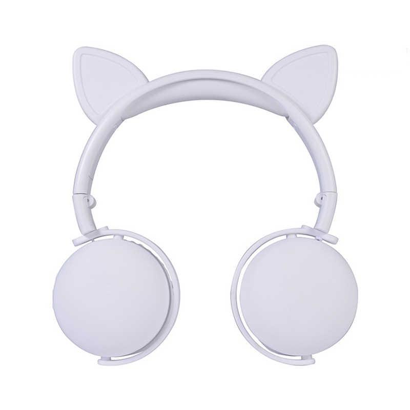 ไร้สายบลูทูธน่ารักหูแมวหูฟังสำหรับเด็กแบบพับเก็บได้สเตอริโอชุดหูฟังพร้อมไมโครโฟนหูฟังขนาดใหญ่