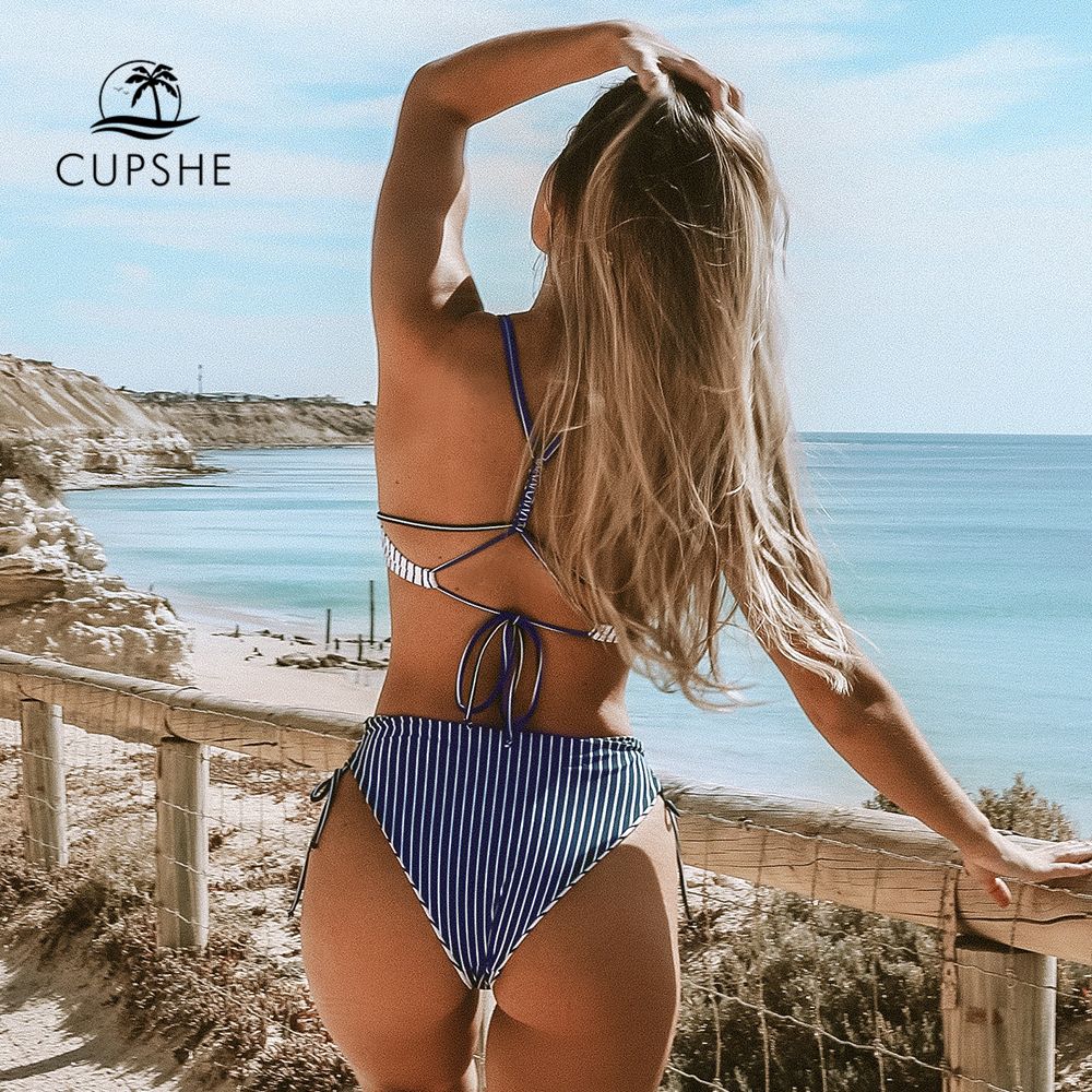 CUPSHE Navy And White Stripe Strappy Lace-Up Bikini Sets Women Sexy Two Pieces Swimsuits 2020 Girl Cute Bathing Suits 1