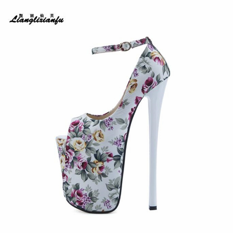 LLXF Catwalk Shows Sandals Nightclub Peep Toe 22cm Ultra High Thin Heels Shoes Woman Stiletto Female Platform Multicolor Pumps