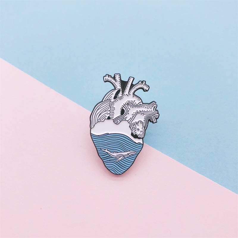 cartoon creative body organ heart enamel brooch blue wave animal fish <font><b>whale</b></font> alloy badge cowboy clothes bag pin cute jewelry gift image