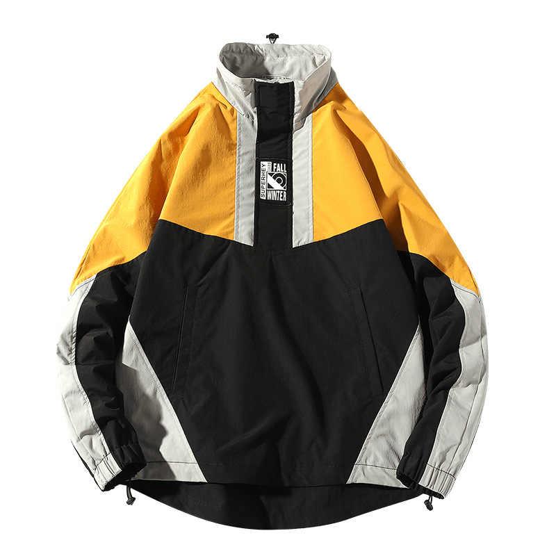 2020 남성 힙합 자켓 봄 코트 하라주쿠 레트로 컬러 블록 패치 워크 자켓 윈드 브레이커 Streetwear Vintage Jacket Oversized