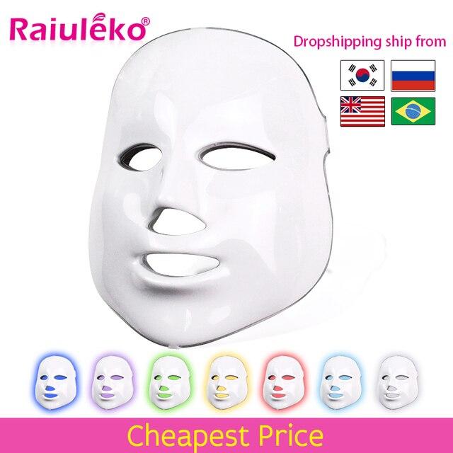 7 สี LED หน้ากากความงาม Skin Care Rejuvenation ริ้วรอยกำจัดสิว Face Beauty Therapy Whitening กระชับเครื่องมือ
