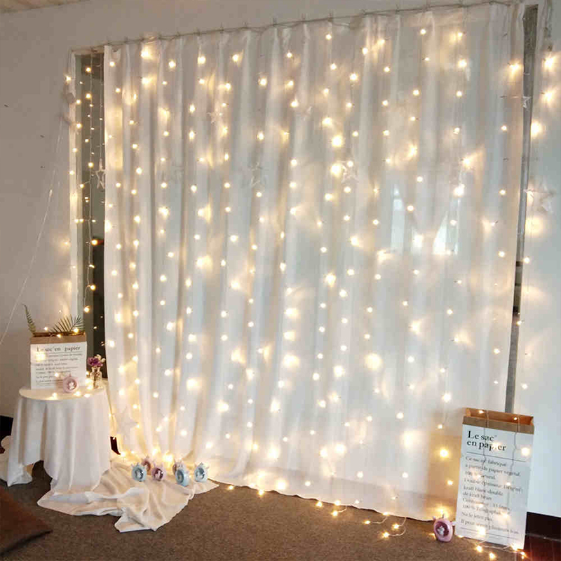 YINUO LIGHT 3M x 3M 300 Curtain LED String Light Fairy Icicle Lights Christmas Garland Wedding Party Window Outdoor Decoration in LED String from Lights Lighting