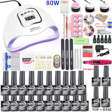 80w/54W Conduziu a Lâmpada Uv Do Prego Jogo de Manicure 20/10 Cores Gel Unha Polonês Verniz Set Kit Acrílico UV Gel Extensão Kit Com Broca Prego