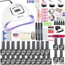 Kit de manucure pour vernis à ongles, lampe Uv Led, 20/10 couleurs, extensions de Gel acrylique, 80/54w