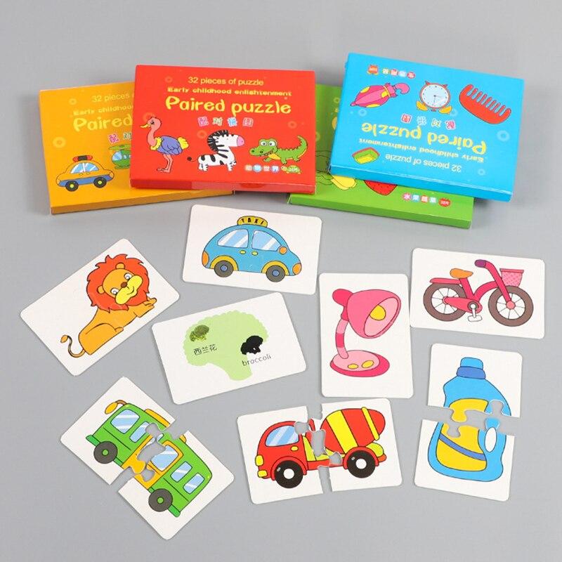 32 шт. для малышей и детей постарше познание головоломки игрушки для малышей карты игра когнитивные карточки техникой, фруктов, животных; Жиз...