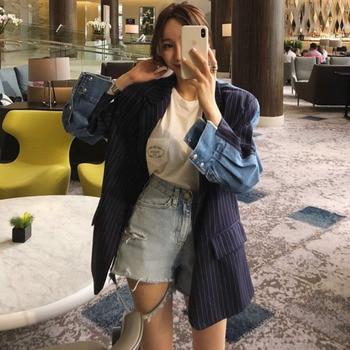 LANMREM azul oscuro de manga larga Denim Color de costura de un solo pecho chaqueta de mujer moda 2020 marea coreana TD253