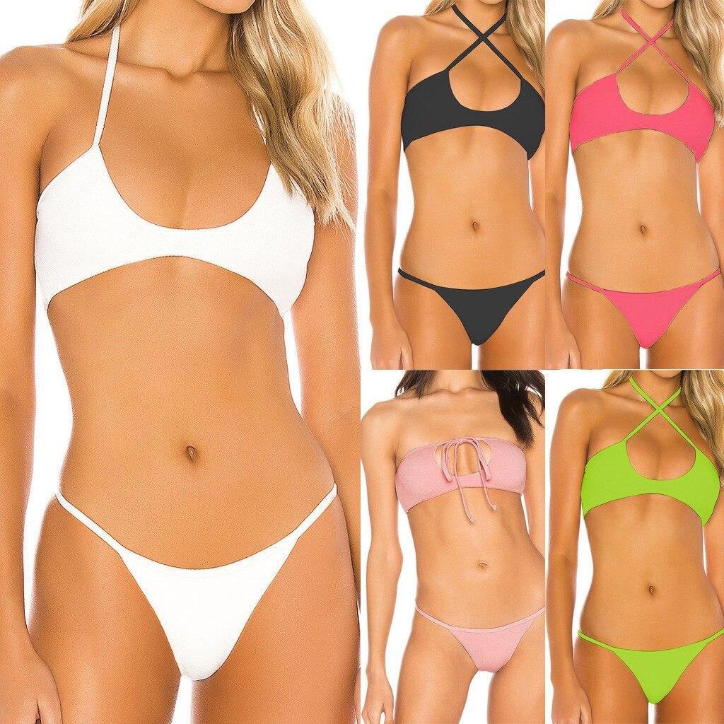 Women Two Pieces Solid Color Elastic Padded Bikini Swimsuit Swimwear Beachwear