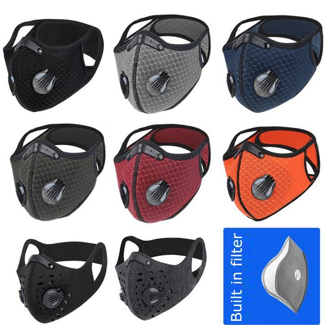 Outdoor Bicycle Bike Sport Face Mask Activated Carbon PM2.5 Mouth Mask Bacteria Proof Protection Mask Black Mouth-muffle#E5 1