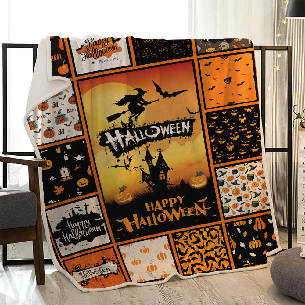Personalized Festival Happy Halloween Coral Fleece Blanket For Kid Adult On Bed Sofa Fashion Yellow Plaid Throw Funny Bedspreads Blankets Aliexpress