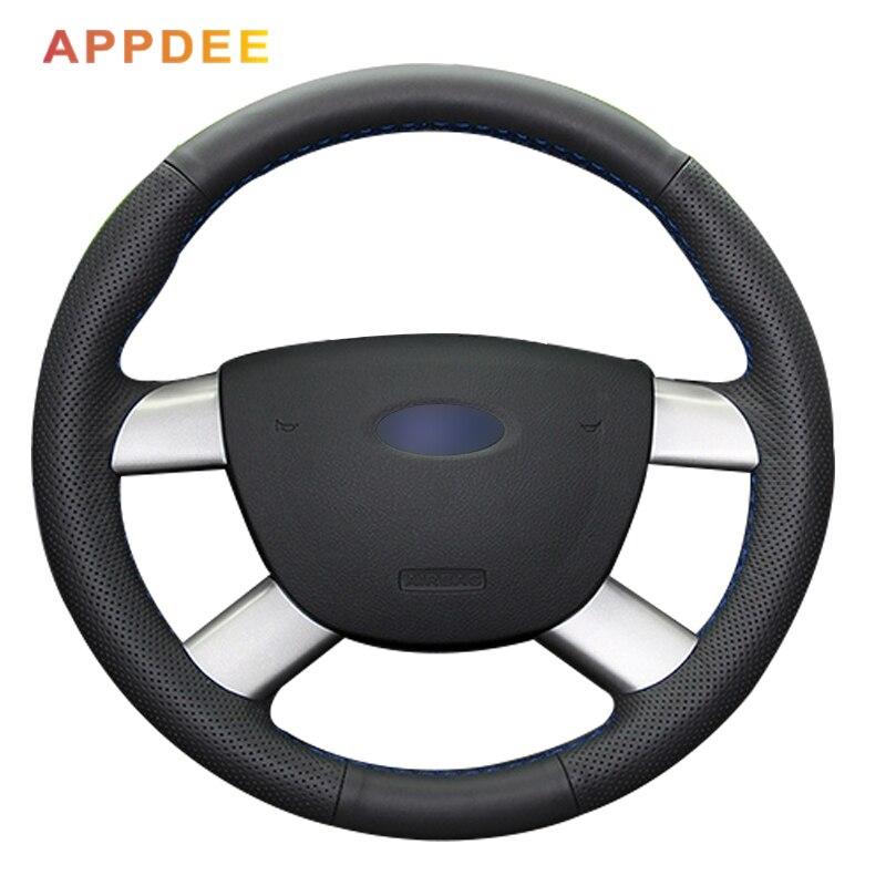 Черный кожаный чехол для руля автомобиля ручной работы для Ford Kuga 2008 2011 Focus 2|car steering wheel cover|steering wheel coverwheel cover | АлиЭкспресс