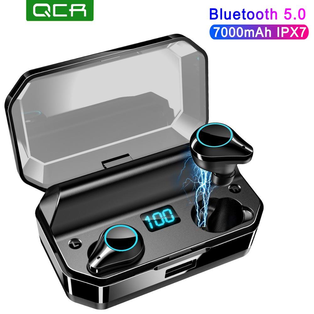 QCR T9 TWS Earphones 9D Stereo Bluetooth 5.0 Wireless Earphones IPX7 Waterproof 7000mAh LED Smart Power Bank Phone Holder