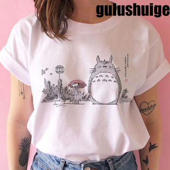 Totoro Studio Ghibli Harajuku Kawaii T Shirt Women Ullzang Miyazaki Hayao Tshirt Funny Cartoon T-shirt Cute Anime Top Tee Female 1