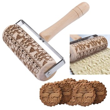 Cookies Decorating Wooden Embossed Rolling Pin For Baking Embossed Cookies