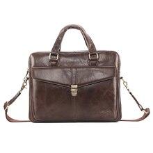 Мужской кожаный деловой портфель, сумка для компьютера, сумка для работы, сумка для ноутбука через плечо, Офисная мягкая кожаная большая сумка для мужчин