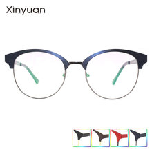 M008 2020 круглые простые прозрачные очки  металлические двойные