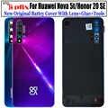 Original pour Huawei Nova 5t couverture arrière Nova5t couvercle de batterie porte verre arrière pour Honor 20 se couvercle de batterie boîtier avec lentille
