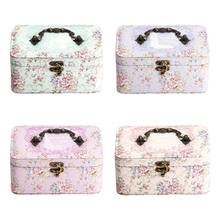 2 Layer PU Jewelry Box with Lock Leather for Women Earring Ring Cosmetic Box(China)