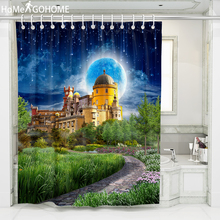 Nordic Castle 3D Shower Curtain Luxury Decoration Moon Bathroom Waterproof Thickened Bath douchegordijn