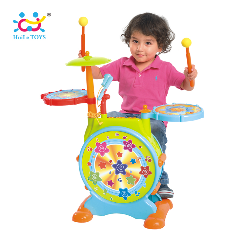 HOLA 666 bébé jouets jouet électronique tambour avec réglable chanter le long Microphone et tabouret électrique Beats Jazz batterie ensemble