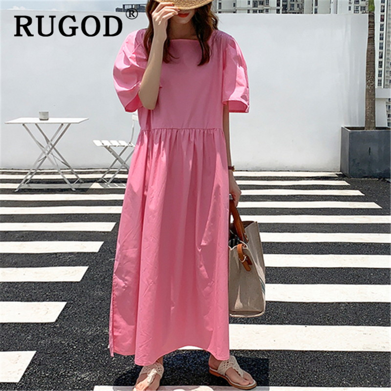 RUGOD Korean ins solid loose summer dress Fashion back single-breasted ladies dress Casual square collor split maxi dress 1