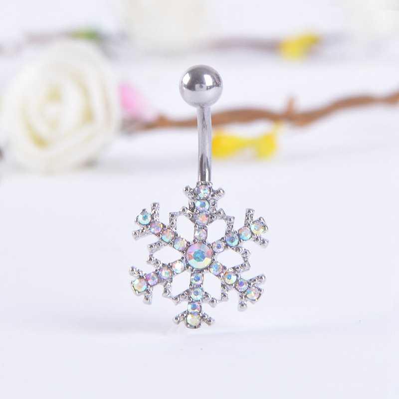Halus Bertatahkan Kristal Kepingan Salju Perut Tombol Gesper Fashion Perut Tombol Berlubang Wanita Hollow Berlubang Tubuh Perhiasan Hadiah