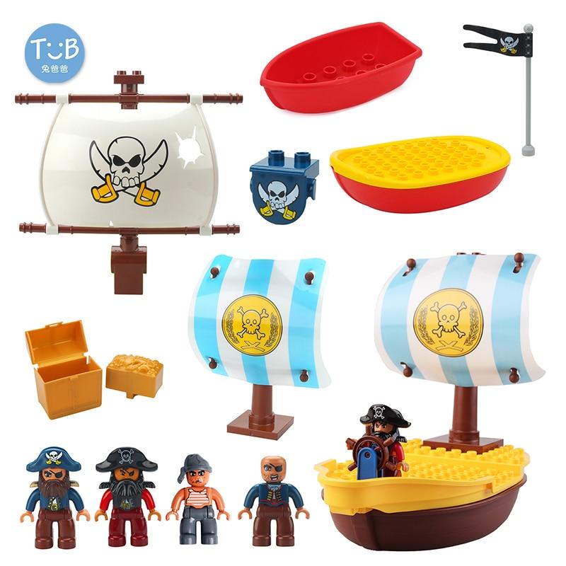 Grande bloco de construção carib tesouro guerra pirata navio modelo acessórios diy tijolos compatível duplo capitão jack conjuntos brinquedo do bebê presentes