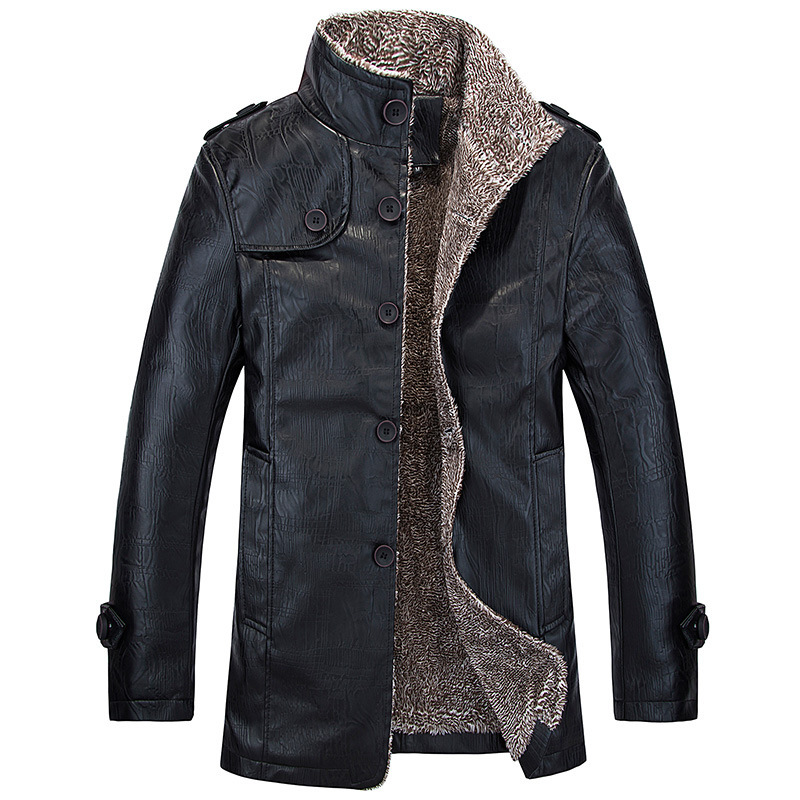 Autumn And Winter New Style Fur Men Plus Velvet Leather Coat Mid-length PU Leather Jacket Men's MEN'S Coat