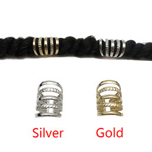 5Pcs Gold/Silver hollow adjustable hair dread Braids dreadlock Beads cuffs clips for Hair accessories(China)