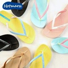Hotmarzz tongs de marque pour femmes, pantoufles plates, diapositives de plage de couleur unie, tendance, décontracté