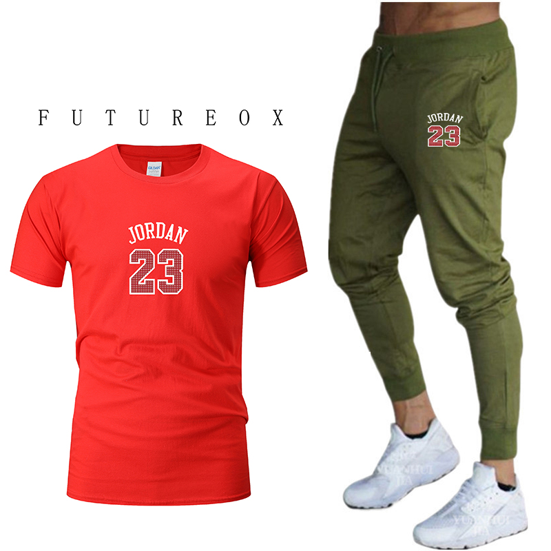 Summer T-shirt Tops 100% Cotton Fun T-shirt Short Sleeve + Feet Pants 2020 Men's Fashion Brand Men And Women Sports Suits