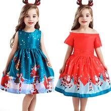 Рождественское платье Элегантная детская одежда для маленьких девочек вечерние платья с принтом Санта Клауса, торжественное платье От 2 до 10 лет