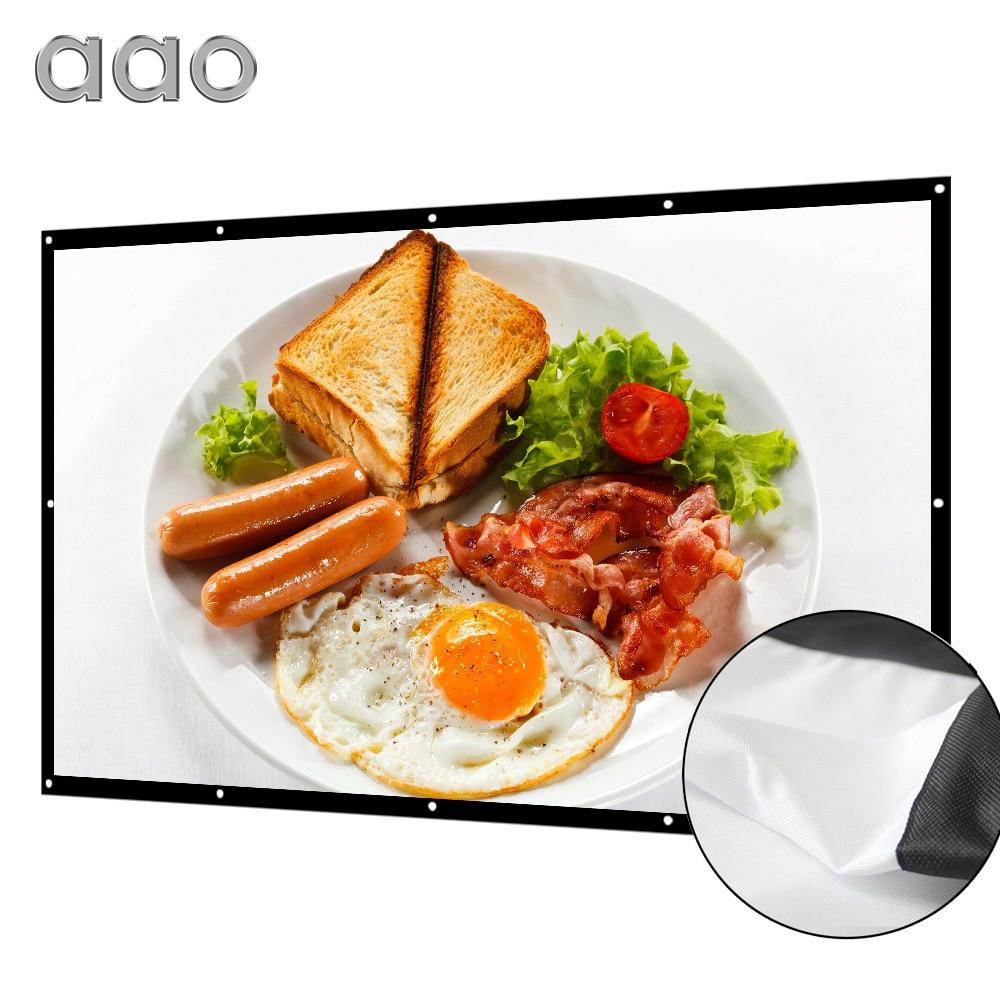 AAO 100 120 150 inç 169 projeksiyon projeksiyon perdesi 3D HD ev sineması duvara monte tuval mat beyaz taşınabilir Anti-kırışık