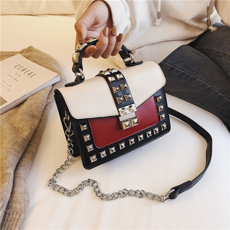 Chain Crossbody Bags for Women 2019 Rivet Flap Handbag Fashion High Quality PU Leather Shoulder Bag Ladies Mini Messenger Bag