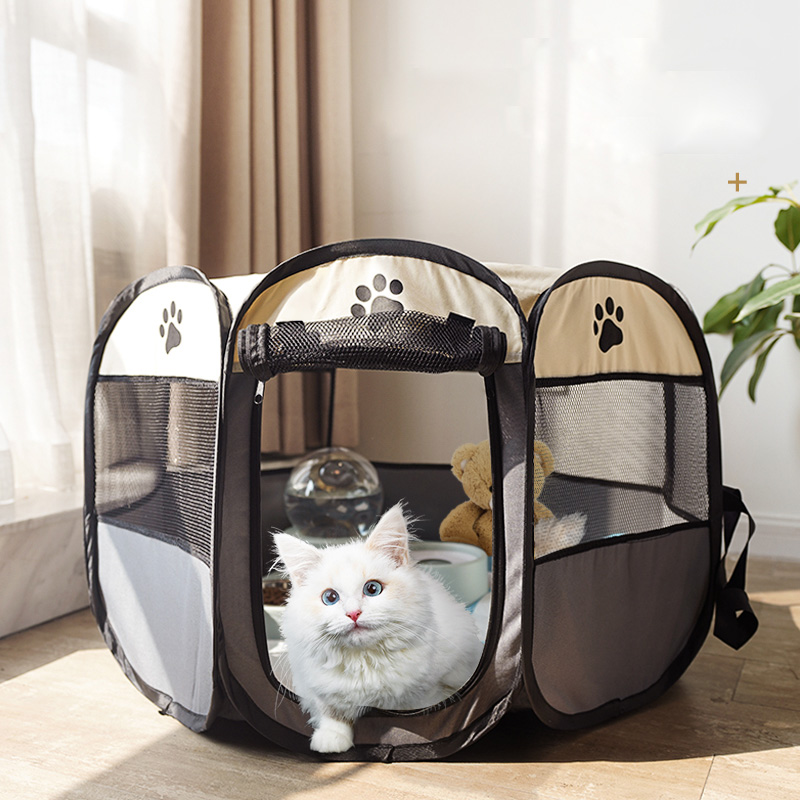 Portable Foldable Dog Cage Pet Tent Houses Playpen Puppy Kennel Cat House Octagon Fence Outdoor For Small Large Dogs Cats Crate 1