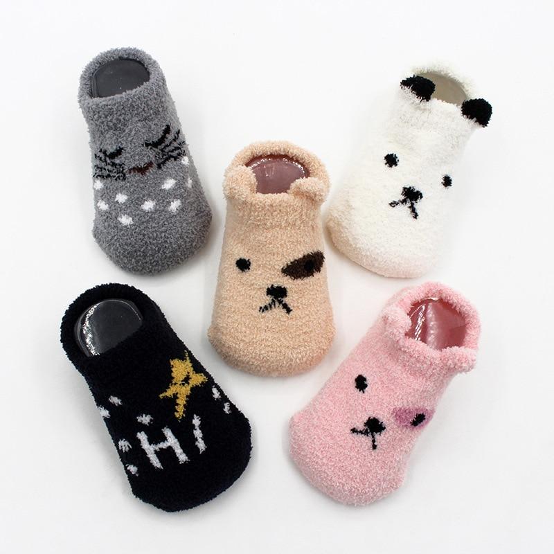 Non-slip Baby Socks Autumn Winter Coral Fleece Socks Warm Toddler Boy Girls Floor Socks Infant Clothing Accessories Thicken