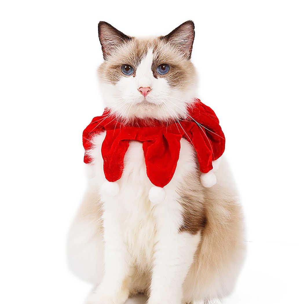 Noel hayvan eşarp önlüğü yumuşak sevimli ponpon Pet boyun isıtıcı kedi Bandana kedi kostüm aksesuarları Pet malzemeleri Festival partisi için