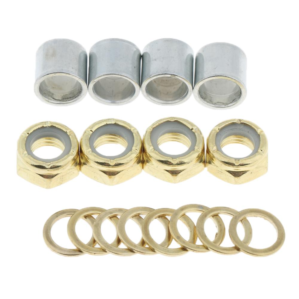 2019 New Arrival 4Pcs Standard Skateboard Axle Washer Bearing Spacer Nuts Speed Rings For Longboard Repair Rebuilding Kit
