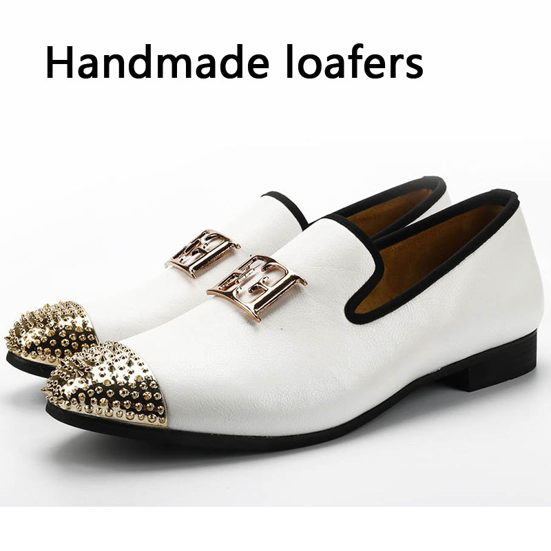 New Fashion Gold Top And Metal Toe Men  Spikes Studs Rivets Shoes Italian Mens Dress Shoes Handmade Loafers