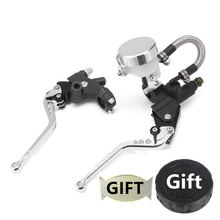 цена на 7/8 22cm Silver Universal Adjustable Motorcycle Hydraulic Brake Clutch Master Cylinder Levers Fluid Reservoir 125-600cc D20