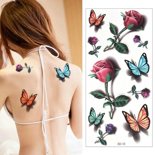 Temporary Tattoos Sticker for Women Body Art Tattoo Sticker 3D Butterfly Rose Flower Feather Tattoo Waterproof Halloween Gift 3