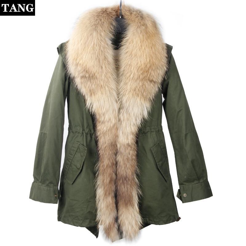 Super grand col en fourrure de raton laveur coton manteaux décontracté manches longues taille à lacets moyenne longue veste femme épaissir chaud
