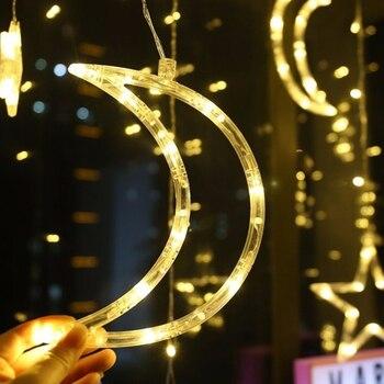 Luna Estrella Lámpara Cadena Hada Cadena Luz Romántica 220V 8 Modos Festival Boda Neón Linterna LED Navidad Cortina Decoración