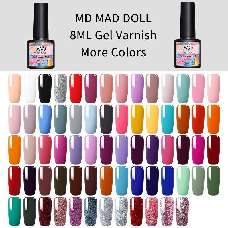 MAD DOLL 8ml Gel Nail Polish Red Blue Purple Mixed Colors One-shot Soak Off UV Gel Varnish Long Lasting Nail Art Design Gel