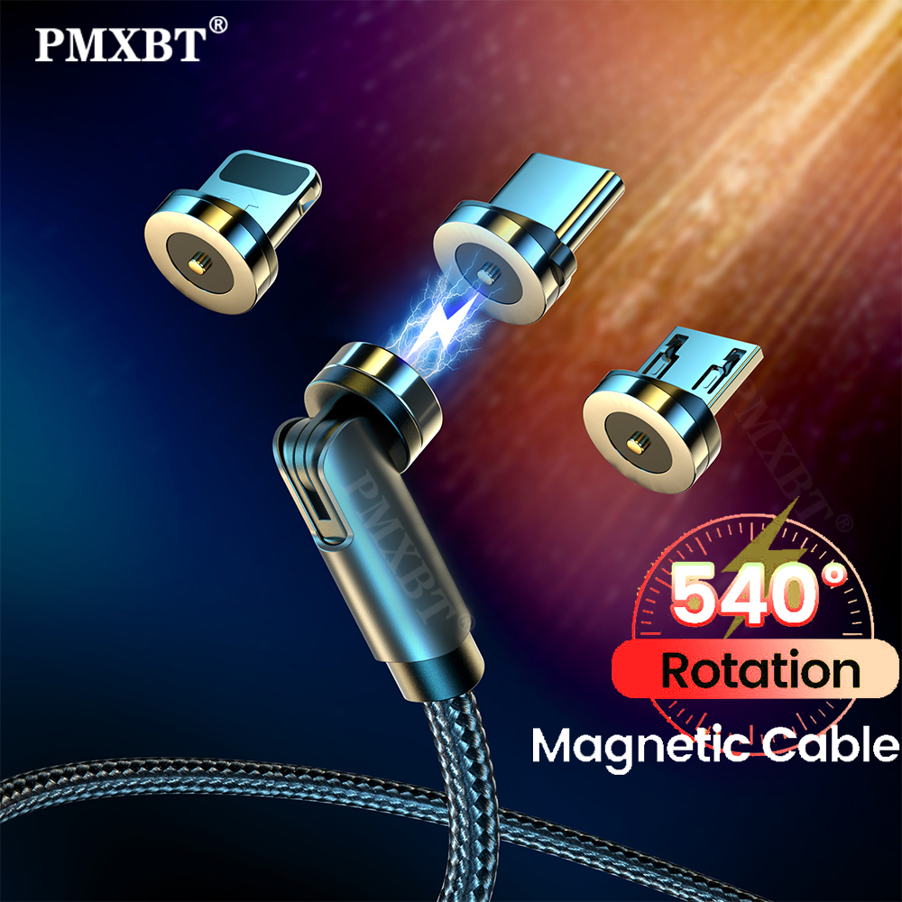 540 Degree Rotating Magnetic Cable Micro USB/Type C/8 Pin For Iphone 12 11 Pro Max Xiaomi Redmi Mobile Phone MicroUSB Cord Wire