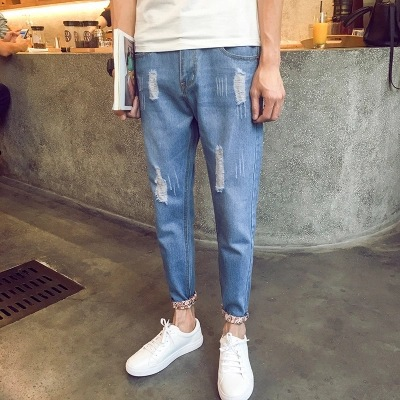 Summer Capri Shorts Jeans Men's With Holes Harem Skinny Pants Teenager Elasticity Slim Fit Korean-style Fashion 9 Pants