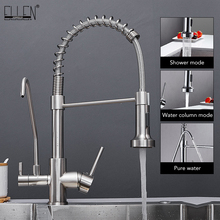 Tap Sink-Mixer Kitchen-Faucets COLD-WATER-FILTER Pull-Down Three-Ways Hot Chrome